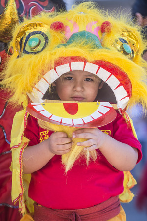 folk heritage: LAS VEGAS - FEB 21 : A young participant at the Chinese New Year parade held in Las Vegas , Nevada on February 21 2015