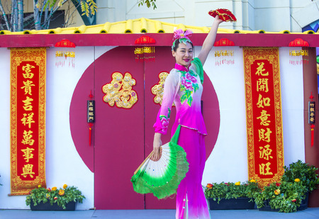show folk: LAS VEGAS - FEB 21 : Chinese folk dancer perform at the Chinese New Year celebrations held in Las Vegas , Nevada on February 21 2015