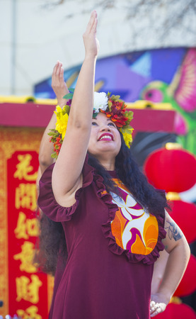 playing folk: LAS VEGAS - FEB 21 : Tahitian folk dancers perform at the Chinese New Year celebrations held in Las Vegas , Nevada on February 21 2015
