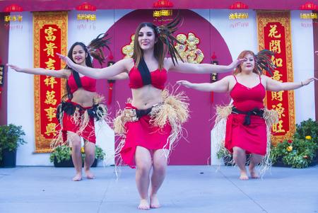 tahitian: LAS VEGAS - FEB 21 : Tahitian folk dancers perform at the Chinese New Year celebrations held in Las Vegas , Nevada on February 21 2015