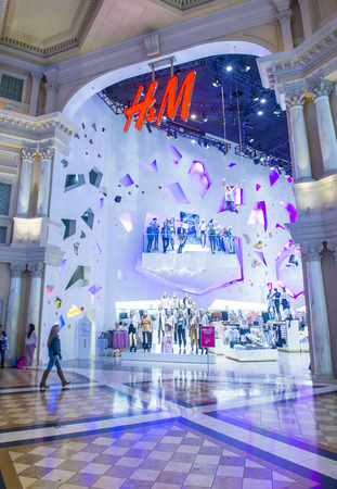 hm: LAS VEGAS - FEB 18 : An H&M store in Las Vegas strip on February 18 , 2015. H&M is a Swedish multinational retail-clothing company.
