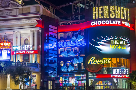 hershey's: LAS VEGAS - FEB 18 : The Hersheys Chocolate World store in New york-New York hotel in Las Vegas on February 18 , 2015. The 13,000-square-foot, two-story store opened in June 2014.