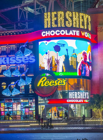 hersheys: LAS VEGAS - FEB 18 : The Hersheys Chocolate World store in New york-New York hotel in Las Vegas on February 18 , 2015. The 13,000-square-foot, two-story store opened in June 2014.