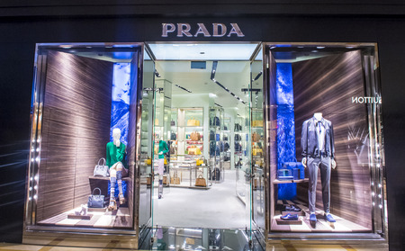 prada: LAS VEGAS - FEB 18 : Exterior of a Prada store in Las Vegas strip on February 18 , 2015. Prada is an Italian luxury fashion house founded in 1913 in Milan.