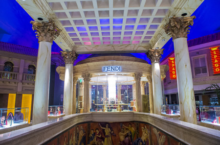 lvmh: LAS VEGAS - FEB 18 : Exterior of a Fendi store in Las Vegas strip on February 18 , 2015.  Fendi is a multinational luxury goods brand owned by LVMH Moet Hennessy Louis Vuitton.