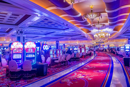 LAS VEGAS - FEB 21 : The interior of Wynn Hotel and casino on February 21 2015 in Las Vegas. The hotel has 2,716 rooms and opened in 2005.