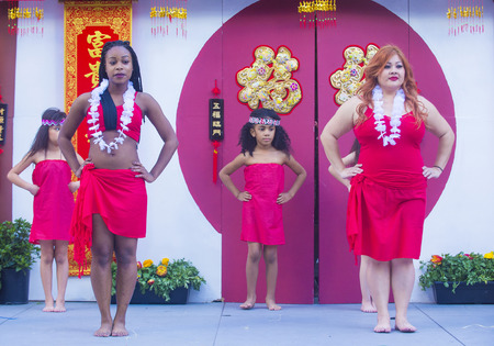 folk heritage: LAS VEGAS - FEB 21 : Tahitian folk dancers perform at the Chinese New Year celebrations held in Las Vegas , Nevada on February 21 2015