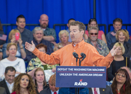 rand: LAS VEGAS - APRIL 11 :Republican presidential candidate U.S. Sen. Rand Paul speaks during a rally in Las Vegas, Nevada on April 11 2015 Editorial