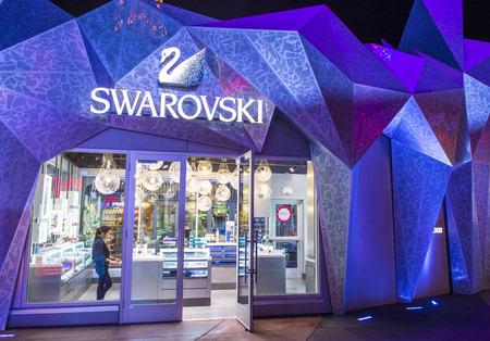 swarovski: LAS VEGAS - MARCH 18 : The Swarovski shop in Las Vegas Strip on March 18 , 2015.  Swarovski is an Austrian producer of luxury cut crystal founded at 1895.