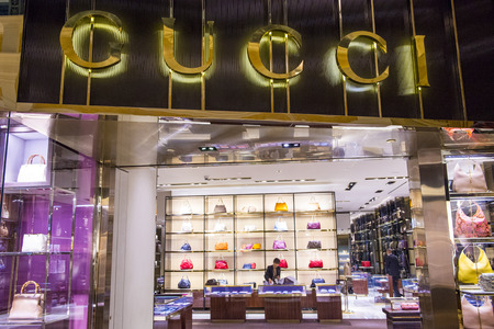 gucci store: LAS VEGAS - FEB 18 : Exterior of a Gucci store in Las Vegas strip on February 18 , 2015.  Gucci is an Italian fashion and leather goods brand with retail stores throughout the world