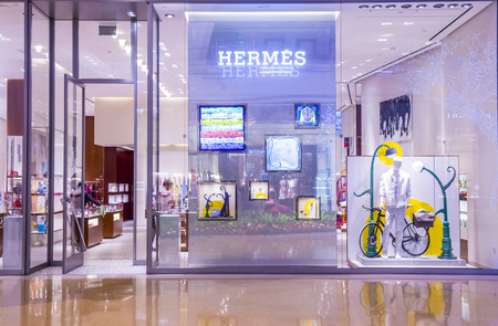 the existing: LAS VEGAS - MARCH 26 : Exterior of a Hermes store in Las Vegas strip on March 26 , 2015.  Hermes is famous luxury brand existing since 1837.