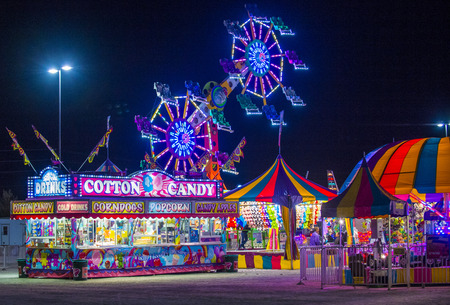 county fair: LOGANDALE , NEVADA - APRIL 10 : Amusement park at the Clark County Fair and Rodeo held in Logandale Nevada , USA on April 10 , 2015