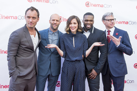 curtis: LAS VEGAS - APR 23 : (L-R) Jude Law, Jason Statham, Rose Byrne, Curtis 50 Cent Jackson and Paul Feig attends the 2015 CinemaCon 20th Century Fox Presentation on April 23 2015 in Las Vegas NV Editorial