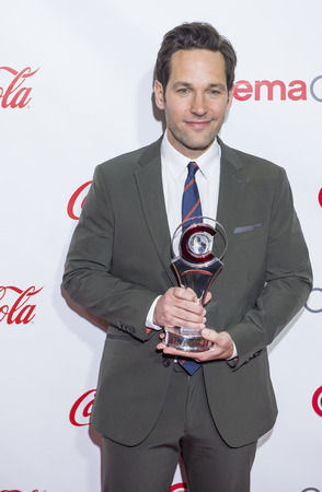 arts culture and entertainment: LAS VEGAS - APR 23 : Actor Paul Rudd, winner of CinemaCons Male Star of the Year award, attends the 2015 Big Screen Achievement Awards during 2015 CinemaCon on April 23, 2015 in Las Vegas. Editorial