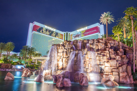 a mirage: LAS VEGAS - MARCH 18 : The Mirage Hotel in Las Vegas on March 18 2015, The hotel Opened in 1989, and it has 2.884 rooms and a casino with 100,000 square feet of gaming space.