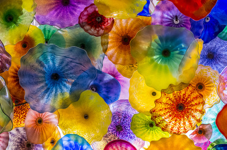 blown: LAS VEGAS - MARCH 18 : The Hand Blown Glass Flower Ceiling at the Bellagio Hotel on March 18, 2015 in Las Vegas. is comprised of 2,000  glass blossoms by glass sculptor Dale Chihuly
