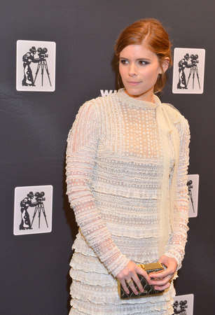 arts culture and entertainment: LAS VEGAS - APRIL 22 : Actress Kate Mara attends the Pioneer Dinner during 2015 CinemaCon on April 22, 2015 at Caesars Palace in Las Vegas, Nevada