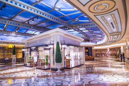 hotel building: LAS VEGAS - APR 23 : The interior of Palazzo hotel and Casino on April 23, 2015 in Las Vegas. Palazzo hotel opened in 2008 and it is the tallest completed building in Las Vegas