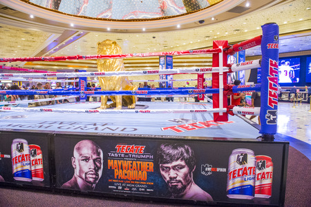 LAS VEGAS - APR 28 : Boxing ring at the MGM hotel lobby advertises about the Floyd Mayweather and Manny Pacquiao fight on April 28 2015 in Las Vegas , the fight scheduled to May 2 2015 Editorial