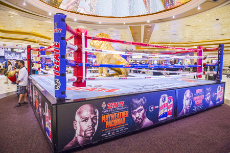 wba: LAS VEGAS - APR 28 : Boxing ring at the MGM hotel lobby advertises about the Floyd Mayweather and Manny Pacquiao fight on April 28 2015 in Las Vegas , the fight scheduled to May 2 2015 Editorial