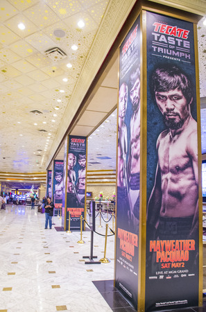 LAS VEGAS - APR 28 : Posters at the MGM Grand hotel lobby advertises about the Floyd Mayweather and Manny Pacquiao fight on April 28 2015 in Las Vegas , the fight scheduled to May 2 2015