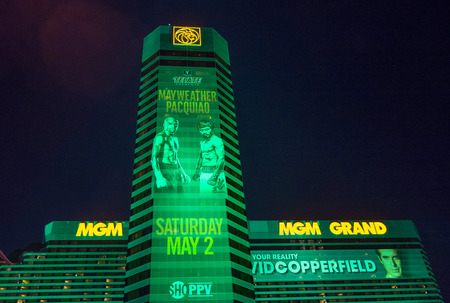LAS VEGAS - APR 28 : A sign at the MGM Grand advertises about the Floyd Mayweather and Manny Pacquiao fight on April 28 2015 in Las Vegas , the fight scheduled to May 2 2015