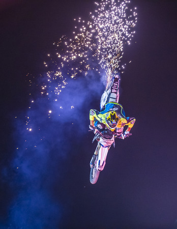 LAS VEGAS - MAY 16 : unidentified rider giving FMX motorcross demonstration as part of the Helldorado days rodeo in Las Vegas on May 16 2015 Editorial