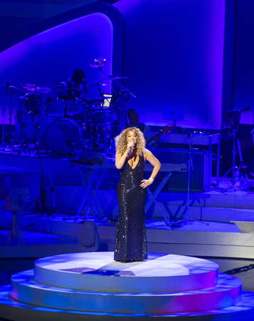 LAS VEGAS - MAY 06 : Singer Mariah Carey performs during the launch of her residency MARIAH 1 TO INFINITY at The Colosseum at Caesars Palace on May 6, 2015 in Las Vegas, Nevada.