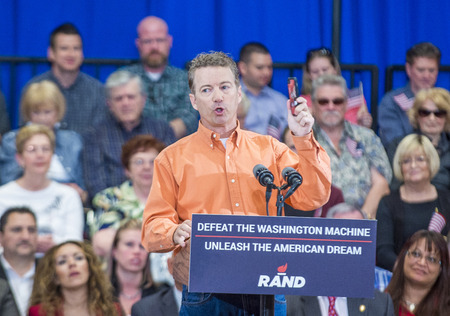 campaigning: LAS VEGAS - APRIL 11 :Republican presidential candidate U.S. Sen. Rand Paul speaks during a rally in Las Vegas, Nevada on April 11 2015 Editorial