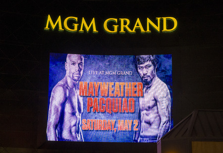 wba: LAS VEGAS - APR 28 : A sign at the MGM Grand advertises about the Floyd Mayweather and Manny Pacquiao fight on April 28 2015 in Las Vegas , the fight scheduled to May 2 2015