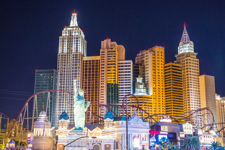 LAS VEGAS - APR 28 : New York-New York Hotel & Casino in Las Vegas on April 28 2015 , This hotel simulates the real New York City skyline and It was opened in 1997.