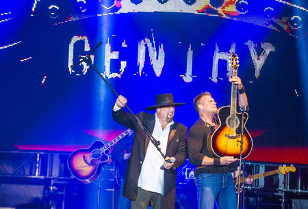 troy: Eddie Montgomery and Troy Gentry of Montgomery Gentry perform onstage during the Cowboy Spring Break held in the MGM Village in Las Vegas , Nevada.