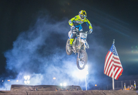 motorcross: LAS VEGAS - MAY 16 : unidentified rider giving FMX motorcross demonstration as part of the Helldorado days rodeo in Las Vegas on May 16 2015 Editorial