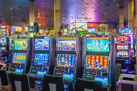 LAS VEGAS - APR 28 : The interior of New York-New York Hotel & Casino in Las Vegas on April 28 , 2015. This hotel simulates the real New York City street and It was opened in 1997.
