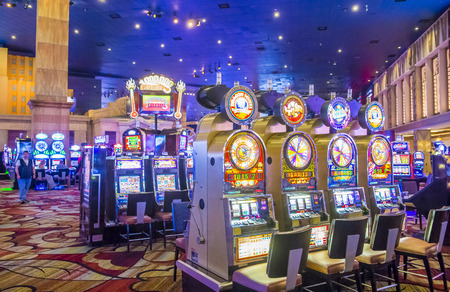 manhatan: LAS VEGAS - APR 28 : The interior of New York-New York Hotel & Casino in Las Vegas on April 28 , 2015. This hotel simulates the real New York City street and It was opened in 1997.