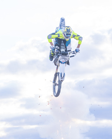 motorcross: LAS VEGAS - MAY 17 : unidentified rider giving FMX motorcross demonstration as part of the Helldorado days rodeo in Las Vegas on May 17 2015 Editorial