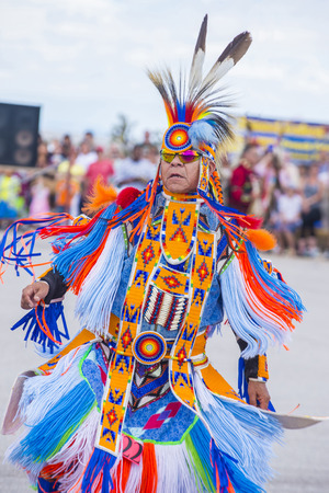 native american man: LAS VEGAS - MAY 24 : Native American man takes part at the 26th Annual Paiute Tribe Pow Wow on May 24 , 2015 in Las Vegas Nevada. Pow wow is native American cultural gathernig event.