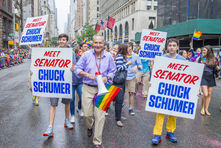 senator: NEW YORK -  JUNE 28 : Senator Chuck Schumer in the Gay Pride Parade on June 28, 2015 in New York. The parade is held two days after the U.S. Supreme Courts decision allowing gay marriage in the U.S.