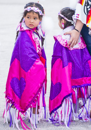 pow: LAS VEGAS - MAY 24 : Native American girls takes part at the 26th Annual Paiute Tribe Pow Wow on May 24 , 2015 in Las Vegas Nevada. Pow wow is native American cultural gathernig event.