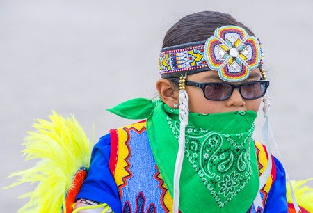 paiute: LAS VEGAS - MAY 24 : Native American boy takes part at the 26th Annual Paiute Tribe Pow Wow on May 24 , 2015 in Las Vegas Nevada. Pow wow is native American cultural gathernig event.