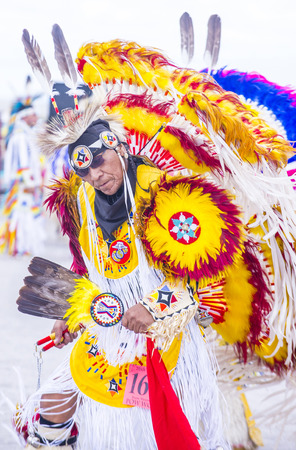 pow: LAS VEGAS - MAY 24 : Native American man takes part at the 26th Annual Paiute Tribe Pow Wow on May 24 , 2015 in Las Vegas Nevada. Pow wow is native American cultural gathernig event.