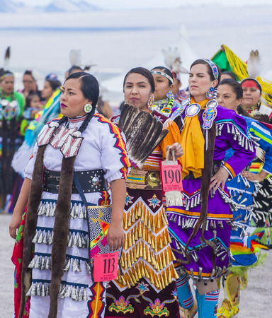 paiute: LAS VEGAS - MAY 24 : Native American women takes part at the 26th Annual Paiute Tribe Pow Wow on May 24 , 2015 in Las Vegas Nevada. Pow wow is native American cultural gathernig event.