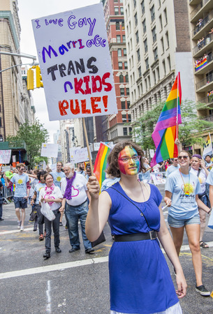 gay parade: NEW YORK -  JUNE 28 : Participants march in the Gay Pride Parade on June 28, 2015 in New York City The parade is held two days after the U.S. Supreme Courts decision allowing gay marriage in the U.S.