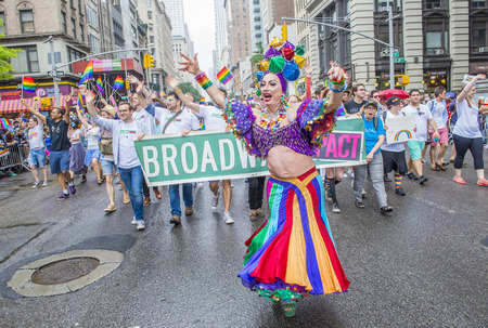 allowing: NEW YORK -  JUNE 28 : Participants march in the Gay Pride Parade on June 28, 2015 in New York City The parade is held two days after the U.S. Supreme Courts decision allowing gay marriage in the U.S.