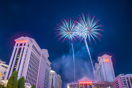 holiday gathering: LAS VEGAS - JULY 04 : The Caesars Palace fireworks show as part of the 4th of July celebration in Las Vegas on July 04 2015 Editorial