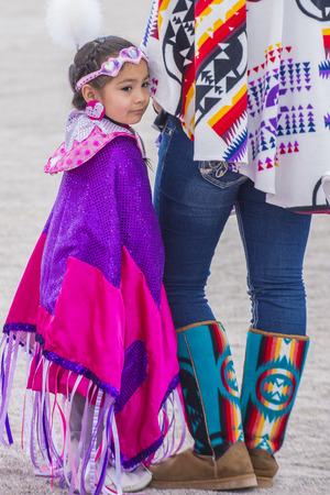 paiute: LAS VEGAS - MAY 24 : Native American girl takes part at the 26th Annual Paiute Tribe Pow Wow on May 24 , 2015 in Las Vegas Nevada. Pow wow is native American cultural gathernig event.
