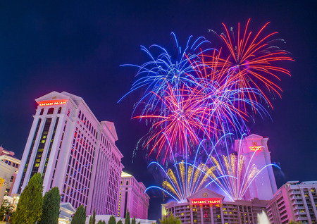 pyro: LAS VEGAS - JULY 04 : The Caesars Palace fireworks show as part of the 4th of July celebration in Las Vegas on July 04 2015 Editorial