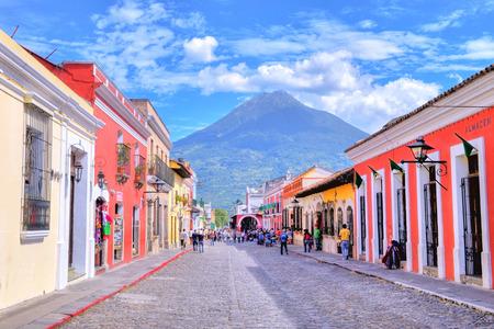 ANTIGUA , GUATEMALA - JULY 30 : Street view of Antigua Guatemala on July 30 2015. The historic city Antigua is UNESCO World Heritage Site since 1979.