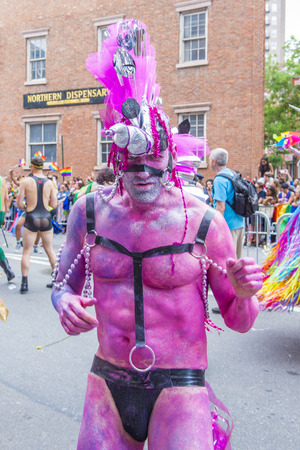 allowing: NEW YORK -  JUNE 28 : Participant march in the Gay Pride Parade on June 28, 2015 in New York City The parade is held two days after the U.S. Supreme Courts decision allowing gay marriage in the U.S. Editorial