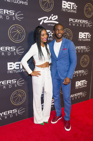 chris: LAS VEGAS - JULY 19 : Jada Crawley (L) and NBA player Chris Paul of the Los Angeles Clippers attend The Players Awards at the Rio Hotel & Casino on July 19, 2015 in Las Vegas, Nevada Editorial